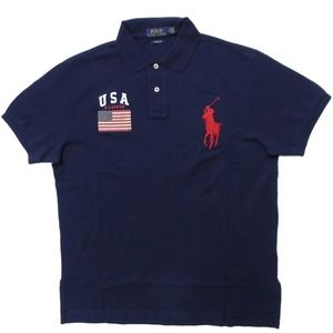 Ralph Lauren Big Pony Polo Shirt USA Flag Navy